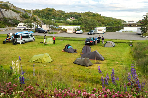 Campground for tenst in Kabelvåg, Lofoten